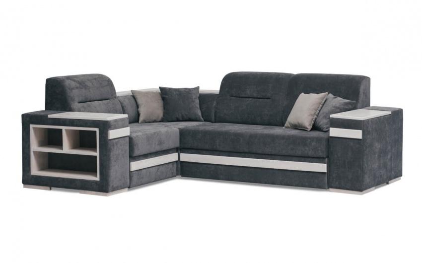 Фото большого углового дивана с полками